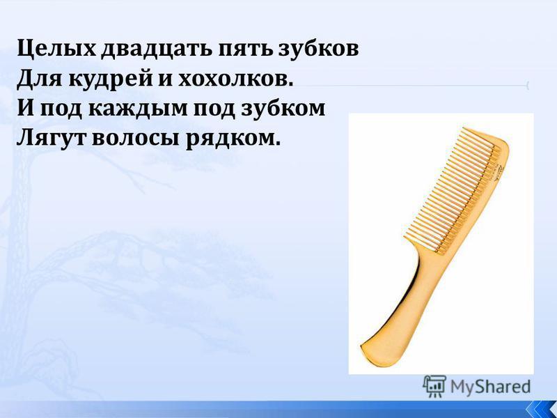 Целых двадцать пять зубков Для кудрей и хохолков. И под каждым под зубком Лягут волосы рядком.