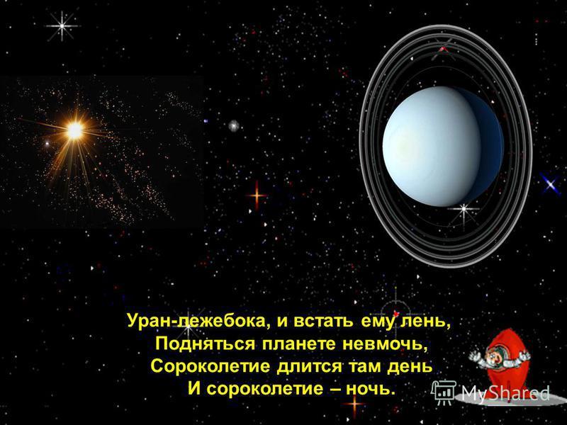Уран-лежебока, и встать ему лень, Подняться планете невмочь, Сороколетие длится там день И сорокалетие – ночь.