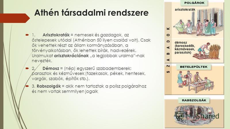 Athén társadalmi rendszere 1. Arisztokraták = nemesek és gazdagok, az őstelepesek utódai (Athénban 50 ilyen család volt). Csak ők vehettek részt az állam kormányzásában, a törvényalkotásban, ők lehettek bírák, hadvezérek. Uralmukat arisztokráciának a