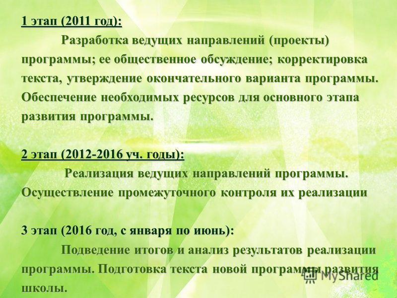 1 этап (2011 год): Разработка ведущих направлений (проекты) программы; ее общественное обсуждение; корректировка текста, утверждение окончательного варианта программы. Обеспечение необходимых ресурсов для основного этапа развития программы. 2 этап (2