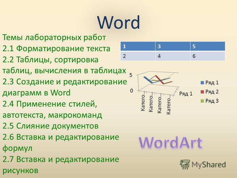 Word Word 135 246 Темы лабораторных работ 2.1 Форматирование текста 2.2 Таблицы, сортировка таблиц, вычисления в таблицах 2.3 Создание и редактирование диаграмм в Word 2.4 Применение стилей, автотекста, макрокоманд 2.5 Слияние документов 2.6 Вставка