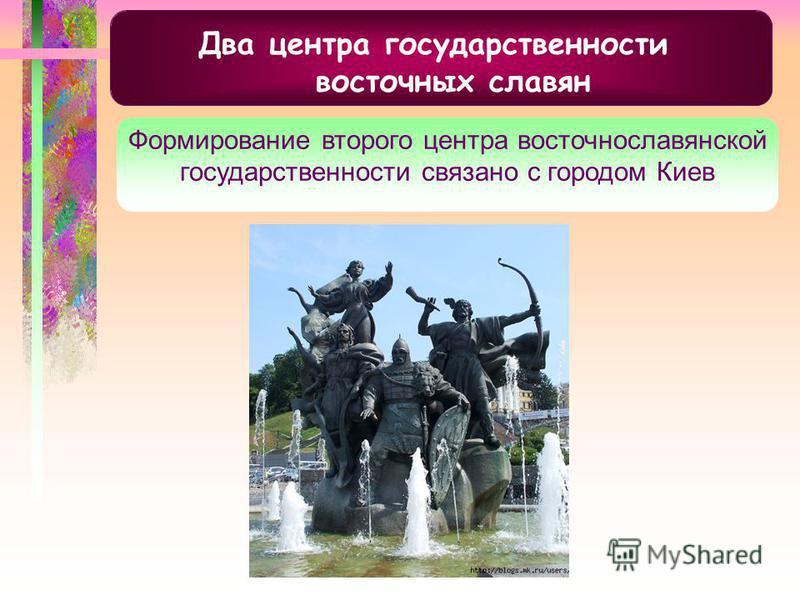 Два центра государственности восточных славян Формирование второго центра восточнославянской государственности связано с городом Киев