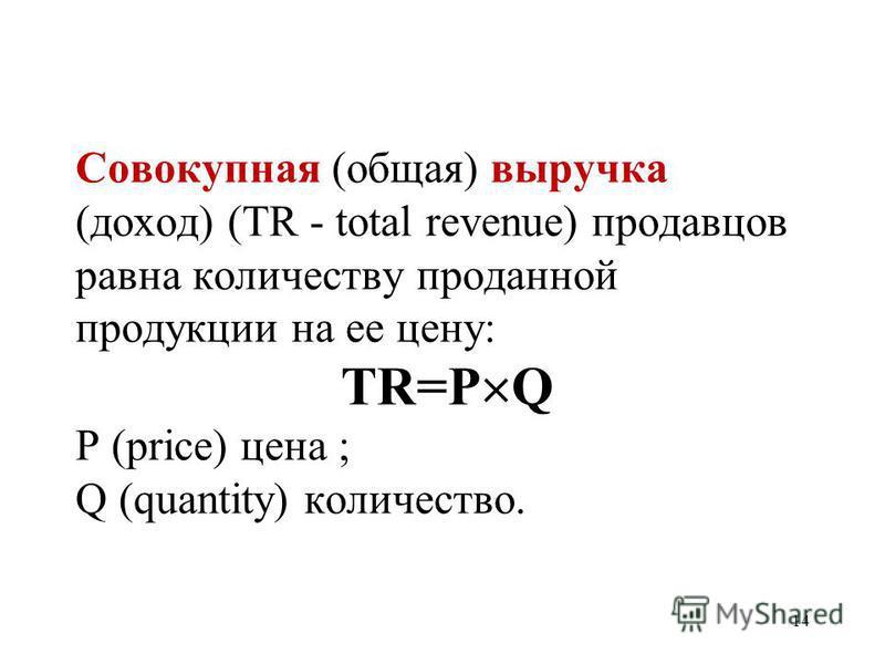 14 Совокупная (общая) выручка (доход) (TR - total revenue) продавцов равна количеству проданной продукции на ее цену: TR=P Q P (price) цена ; Q (quantity) количество.
