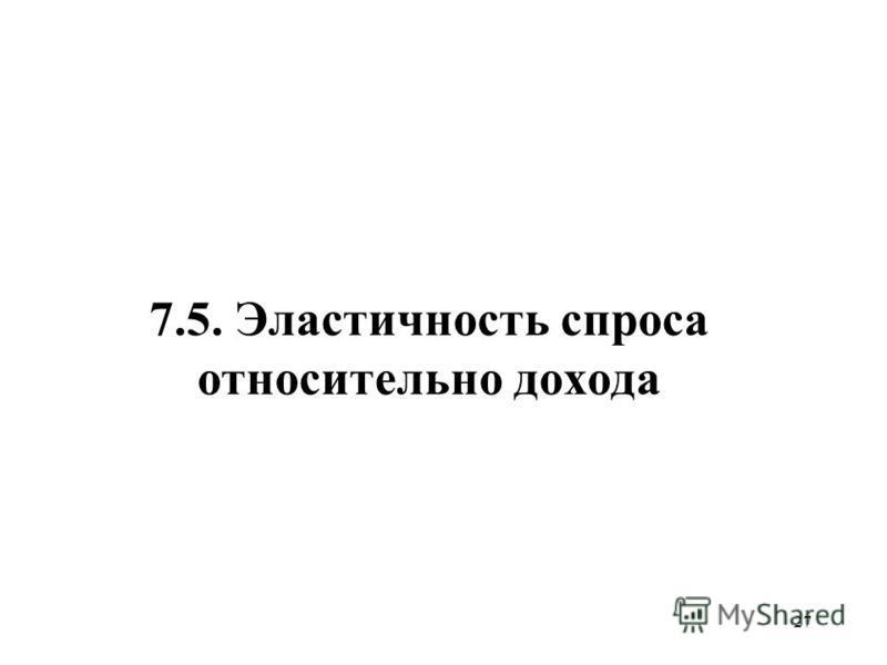 27 7.5. Эластичность спроса относительно дохода