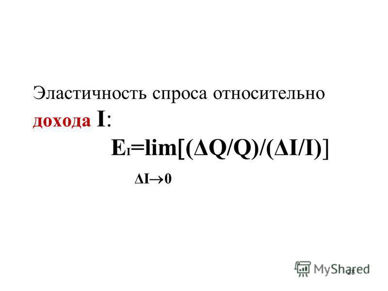 28 Эластичность спроса относительно дохода I: Е I =lim (ΔQ/Q)/(ΔI/I) ΔI 0