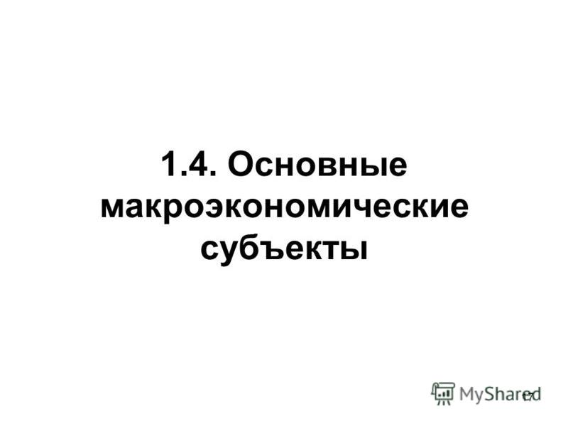 17 1.4. Основные макроэкономические субъекты