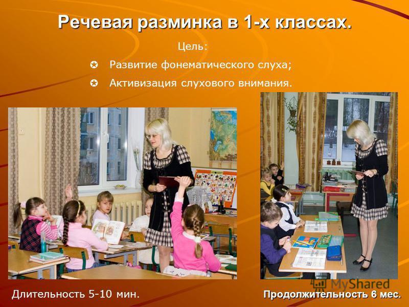 Речевая разминка в 1-х классах. Цель: Развитие фонематического слуха; Активизация слухового внимания. Длительность 5-10 мин. Продолжительность 6 мес.