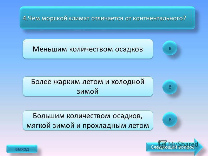 а б ВВ 3. Какой океан не влияет на климат России? Тихий Индийский Атлантический выход Следующий вопрос Следующий вопрос Следующий вопрос Следующий вопрос