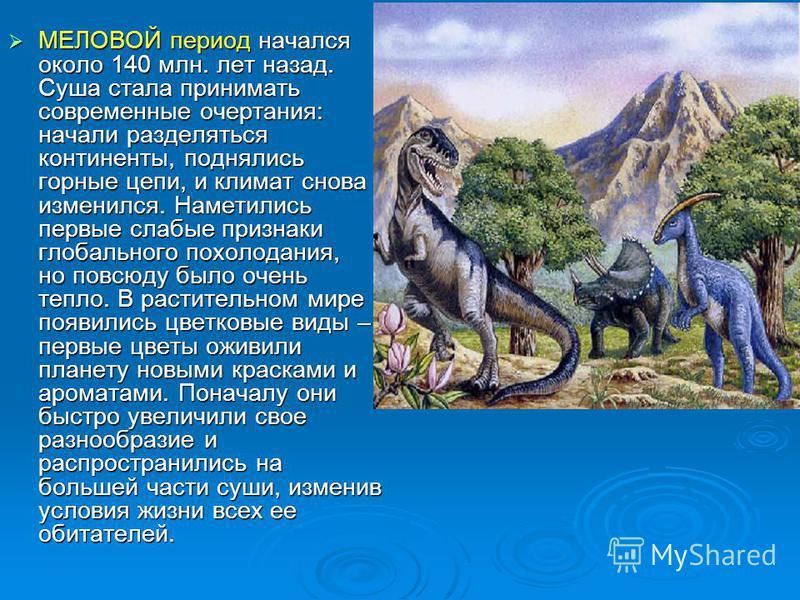 МЕЛОВОЙ период начался около 140 млн. лет назад. Суша стала принимать современные очертания: начали разделяться континенты, поднялись горные цепи, и климат снова изменился. Наметились первые слабые признаки глобального похолодания, но повсюду было оч