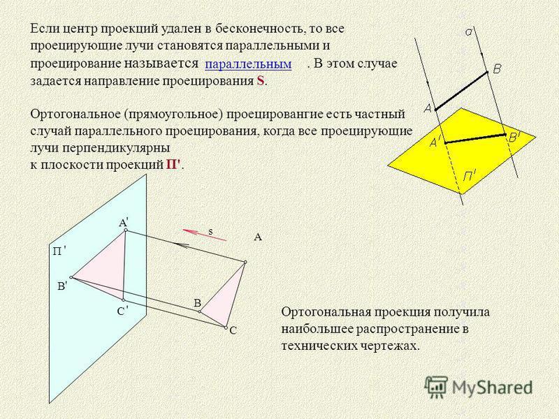Если центр проекций удален в бесконечность, то все проецирующие лучи становятся параллельными и проецирование называется. В этом случае задается направление проецирования S. Ортогональное (прямоугольное) проецировангие есть частный случай параллельно
