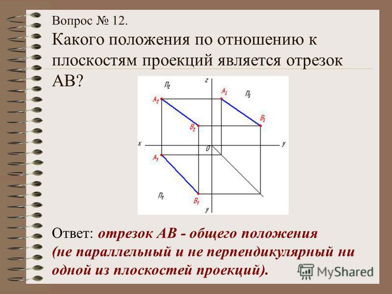 Вопрос 12. Какого положения по отношению к плоскостям проекций является отрезок АВ? Ответ: отрезок АВ - общего положения (не параллельный и не перпендикулярный ни одной из плоскостей проекций).