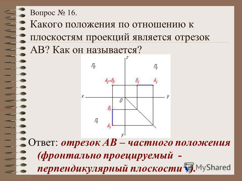 Вопрос 16. Какого положения по отношению к плоскостям проекций является отрезок АВ? Как он называется? Ответ: отрезок АВ – частного положения (фронтально проецируемый - перпендикулярный плоскости v).