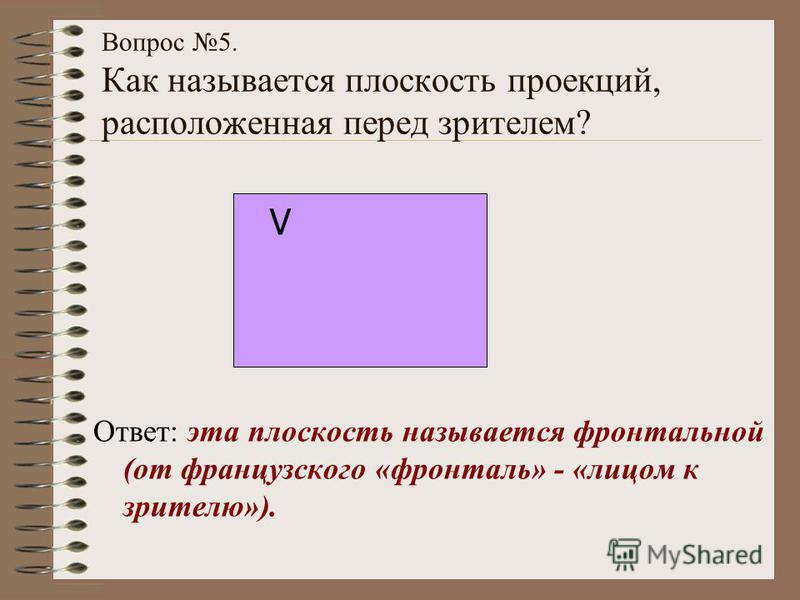Вопрос 5. Как называется плоскость проекций, расположенная перед зрителем? Ответ: эта плоскость называется фронтальной (от французского «фронталь» - «лицом к зрителю»). V