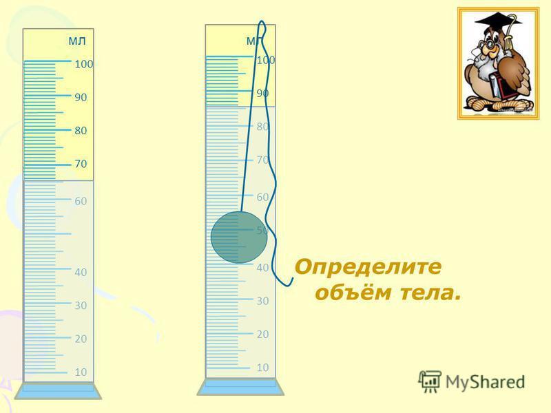 Определите объём тела. 10 20 30 40 60 70 80 90 100 10 20 30 40 50 60 70 80 90 100 мл