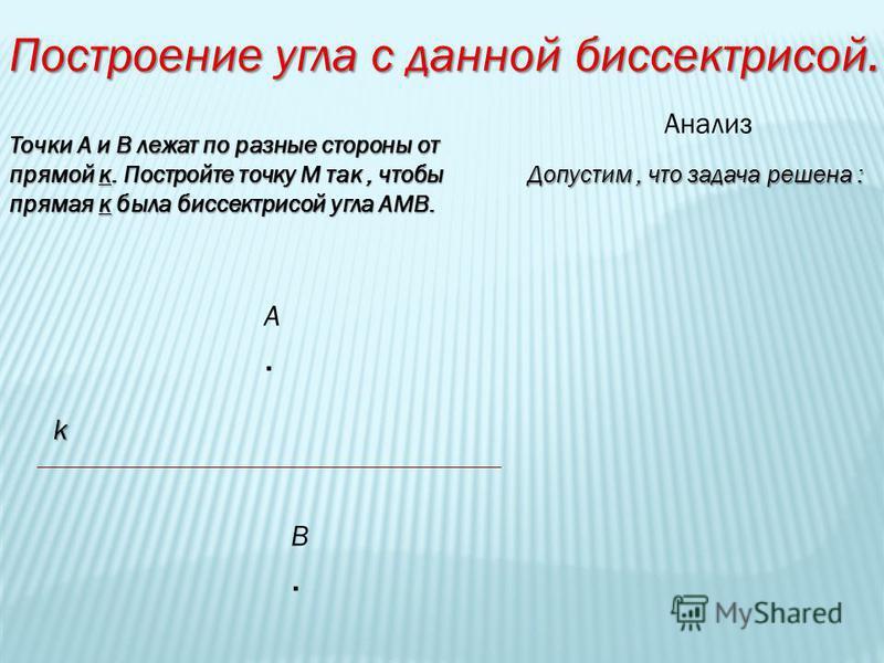 Построение угла с данной биссектрисой. Точки А и В лежат по разные стороны от прямой к. Постройте точку М так, чтобы прямая к была биссектрисой угла АМВ. Анализ Допустим, что задача решена : k А.А. В.В.
