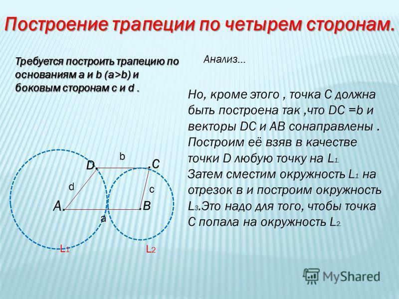 Построение трапеции по четырем сторонам. Требуется построить трапецию по основаниям а и b (a>b) и боковым сторонам c и d. Анализ… A..B D..C d a c b Но, кроме этого, точка С должна быть построена так,что DC =b и векторы DC и АВ сонаправлены. Построим