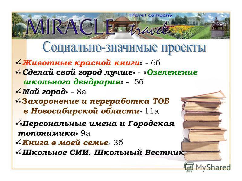 « Животные красной книги » - 6 б « Сделай свой город лучше » - « Озеленение школьного дендрария » - 5 б « Мой город » - 8 а « З ахоронение и переработка ТОБ в Новосибирской области » 11 а «Персональные имена и Городская топонимика » 9 а « Книга в мое