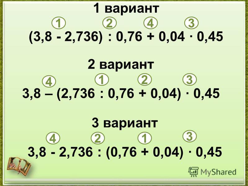 1 вариант (3,8 - 2,736) : 0,76 + 0,04 · 0,45 2 вариант 3,8 – (2,736 : 0,76 + 0,04) · 0,45 3 вариант 3,8 - 2,736 : (0,76 + 0,04) · 0,45 1243 1 12 2 3 3 4 4