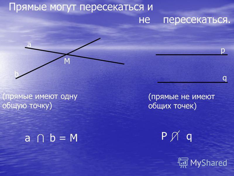 Прямые могут пересекаться и не пересекаться. а b p q M (прямые имеют одну общую точку) (прямые не имеют общих точек) a b = M P q