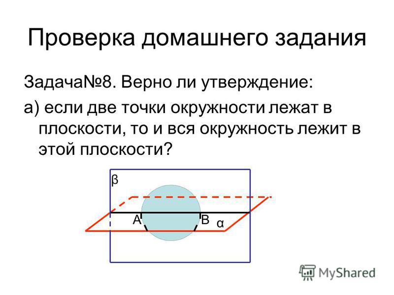 Проверка домашнего задания Задача 8. Верно ли утверждение: а) если две точки окружности лежат в плоскости, то и вся окружность лежит в этой плоскости? α β АВ