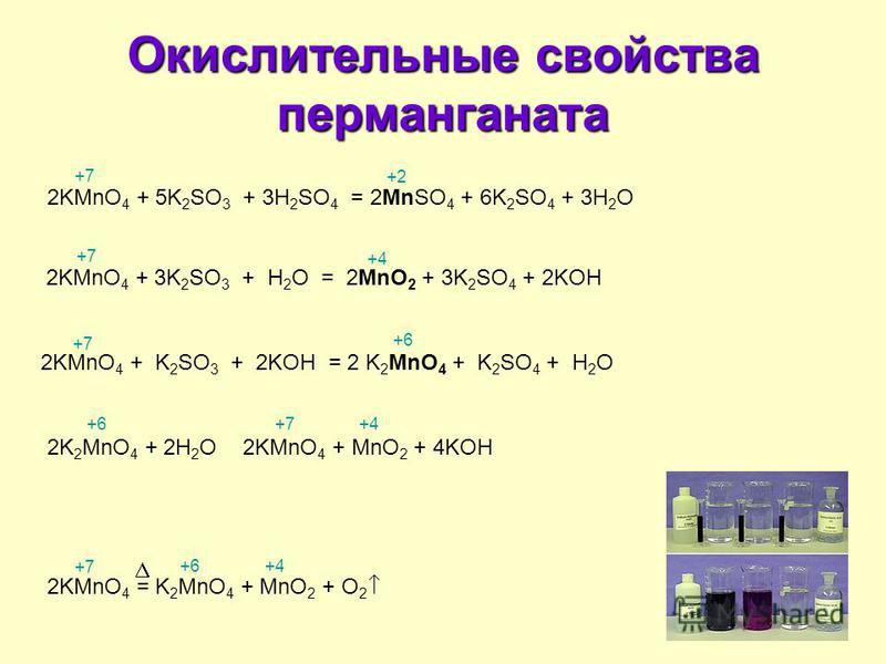 Окислительные свойства перманганата 2KMnO 4 + 5K 2 SO 3 + 3H 2 SO 4 = 2MnSO 4 + 6K 2 SO 4 + 3H 2 O 2KMnO 4 + 3K 2 SO 3 + H 2 O = 2MnO 2 + 3K 2 SO 4 + 2KOH 2KMnO 4 + K 2 SO 3 + 2KOH = 2 K 2 MnO 4 + K 2 SO 4 + H 2 O 2K 2 MnO 4 + 2H 2 O 2KMnO 4 + MnO 2