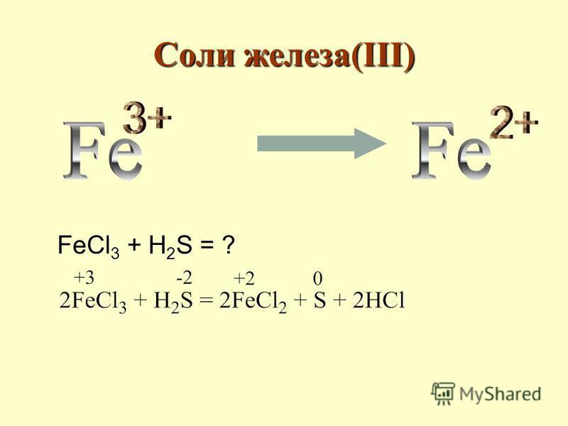 Соли железа(III) FeCl 3 + H 2 S = ?
