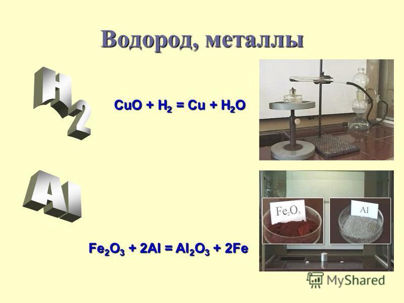 Водород, металлы CuO + H2 = Cu + H2O Fe2O3 + 2Al = Al2O3 + 2Fe