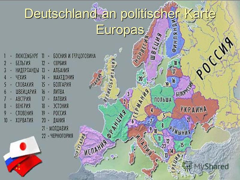 Deutschland an politischer Karte Europas