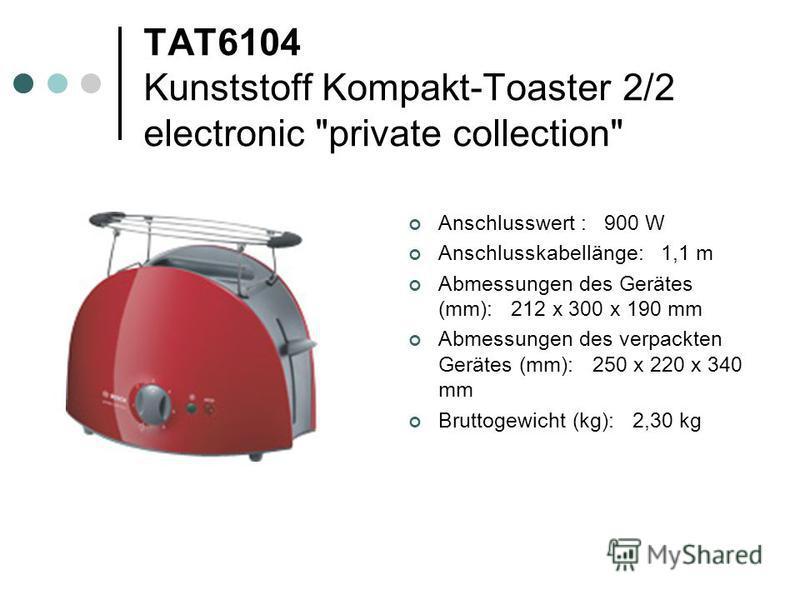 TAT6104 Kunststoff Kompakt-Toaster 2/2 electronic