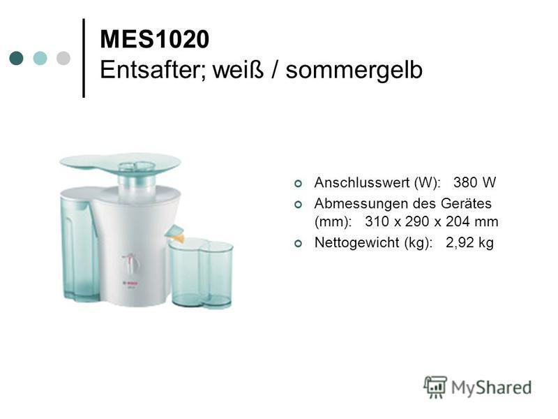 MES1020 Entsafter; weiß / sommergelb Anschlusswert (W): 380 W Abmessungen des Gerätes (mm): 310 x 290 x 204 mm Nettogewicht (kg): 2,92 kg