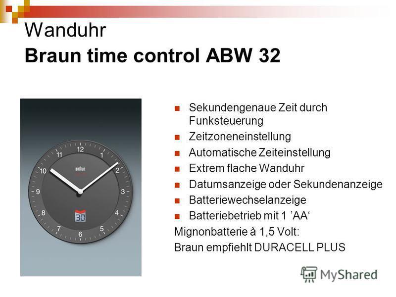 Wanduhr Braun time control ABW 32 Sekundengenaue Zeit durch Funksteuerung Zeitzoneneinstellung Automatische Zeiteinstellung Extrem flache Wanduhr Datumsanzeige oder Sekundenanzeige Batteriewechselanzeige Batteriebetrieb mit 1 AA Mignonbatterie à 1,5