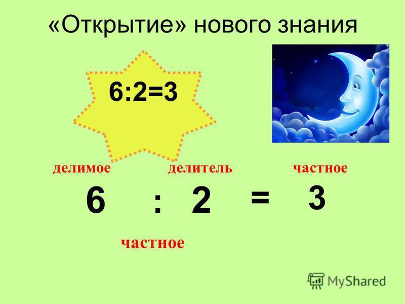 «Открытие» нового знания 6 : 2 = 3 делитель делимое частное 6:2=3