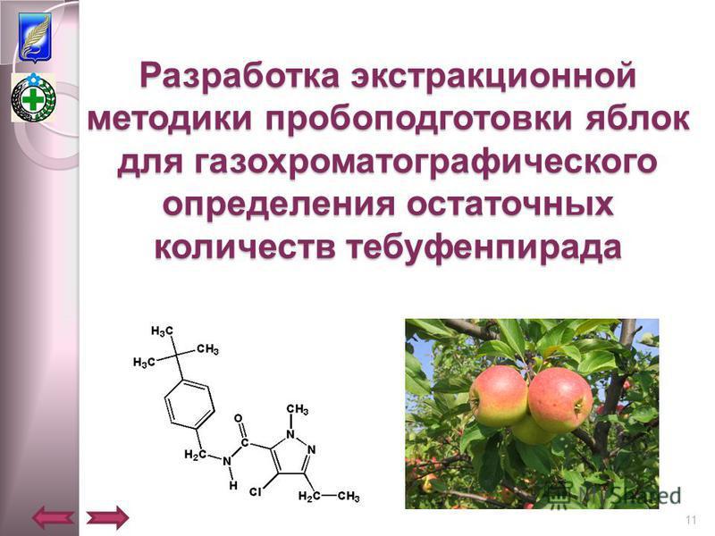 Разработка экстракционной методики пробоподготовки яблок для газохроматографического определения остаточных количеств тебуфенпирада 11