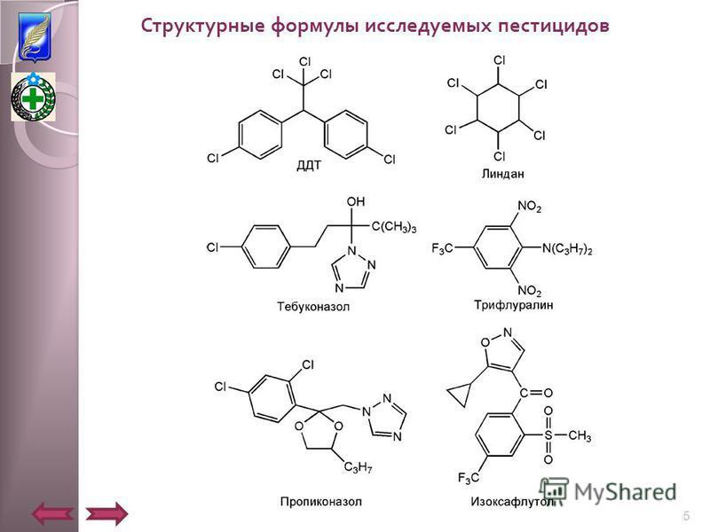 Структурные формулы исследуемых пестицидов 5