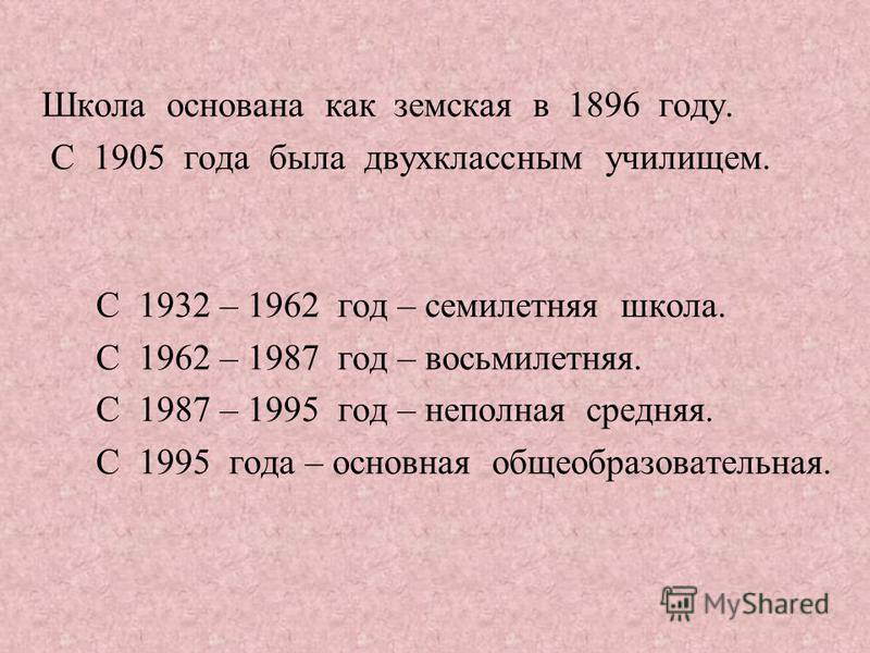 Школа основана как земская в 1896 году. С 1905 года была двухклассным училищем. С 1932 – 1962 год – семилетняя школа. С 1962 – 1987 год – восьмилетняя. С 1987 – 1995 год – неполная средняя. С 1995 года – основная общеобразовательная.