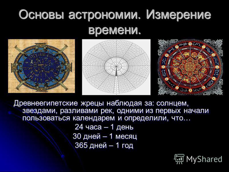 Основы астрономии. Измерение времени. Древнеегипетские жрецы наблюдая за: солнцем, звездами, разливами рек, одними из первых начали пользоваться календарем и определили, что… 24 часа – 1 день 24 часа – 1 день 30 дней – 1 месяц 30 дней – 1 месяц 365 д