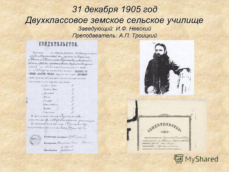 31 декабря 1905 год Двухклассовое земское сельское училище Заведующий: И.Ф. Невский Преподаватель: А.П. Троицкий