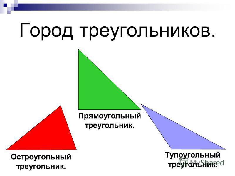 Город треугольников. Прямоугольный треугольник. Остроугольный треугольник. Тупоугольный треугольник.
