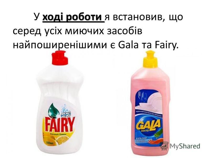 ході роботи У ході роботи я встановив, що серед усіх миючих засобів найпоширенішими є Gala та Fairy.