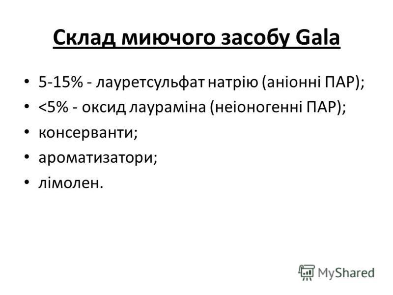 Склад миючого засобу Gala 5-15% - лауретсульфат натрію (аніонні ПАР); <5% - оксид лаураміна (неіоногенні ПАР); консерванти; ароматизатори; лімолен.