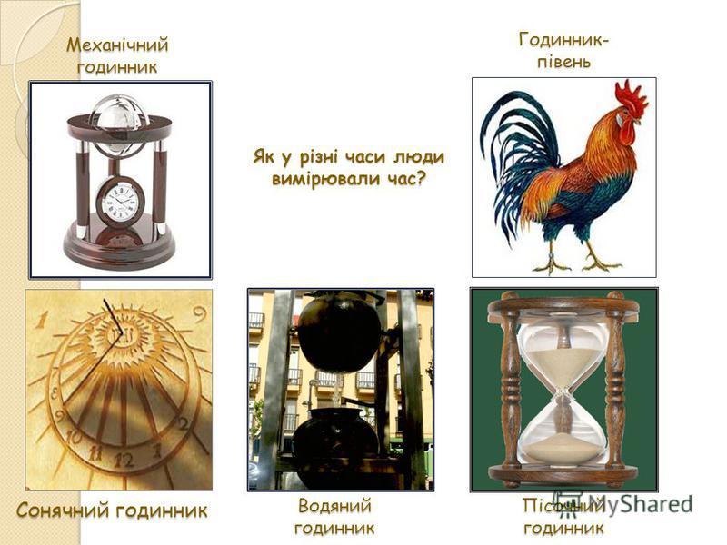 Сонячний годинник Водяний годинник Пісочнийгодинник Механічнийгодинник Годинник-півень Як у різні часи люди вимірювали час?