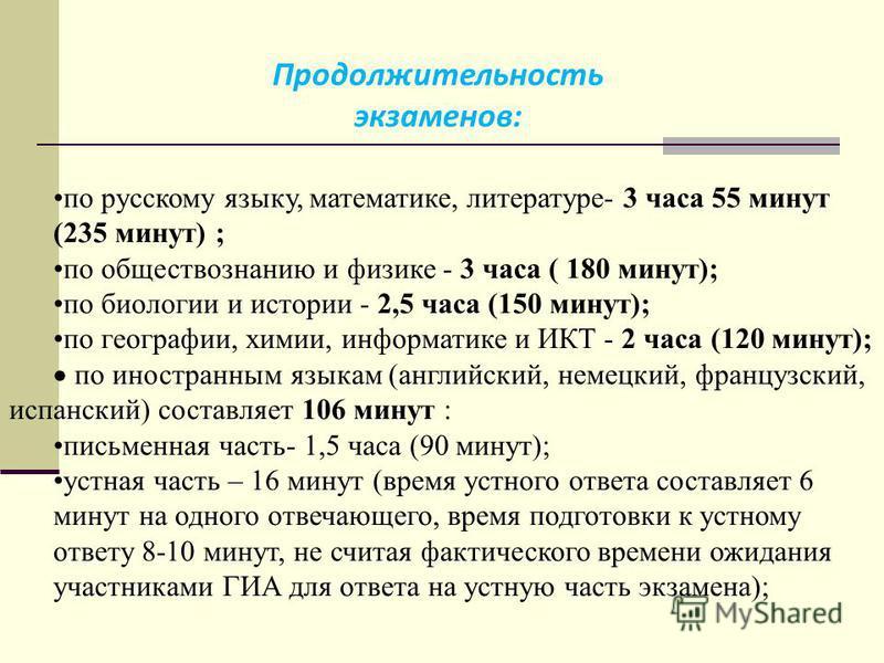 по русскому языку, математике, литературе- 3 часа 55 минут (235 минут) ; по обществознанию и физике - 3 часа ( 180 минут); по биологии и истории - 2,5 часа (150 минут); по географии, химии, информатике и ИКТ - 2 часа (120 минут); по иностранным языка