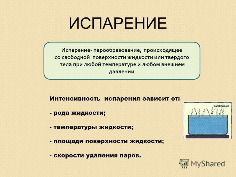 Интенсивность испарения зависит от: - рода жидкости; - температуры жидкости; - площади поверхности жидкости; - скорости удаления паров. Испарение - парообразование, происходящее со свободной поверхности жидкости или твердого тела при любой температур