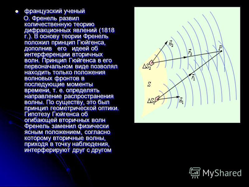 французский ученый французский ученый О. Френель развил количественную теорию дифракционных явлений (1818 г.). В основу теории Френель положил принцип Гюйгенса, допол нив его идеей об интерференции вторичных вол н. Принцип Гюйгенса в его первоначальн
