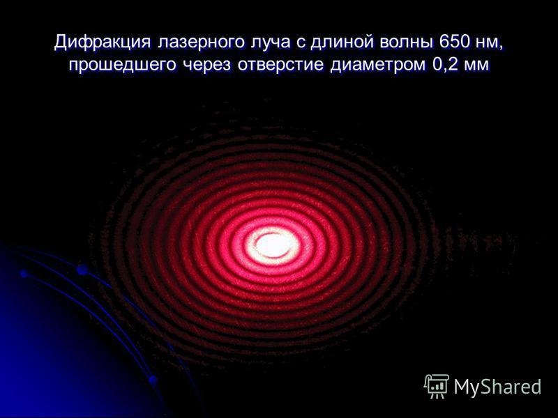 Дифрааакция лазерного луча с длиной вол ны 650 нм, прошедшего через отверстие диаметром 0,2 мм Дифрааакция лазерного луча с длиной вол ны 650 нм, прошедшего через отверстие диаметром 0,2 мм