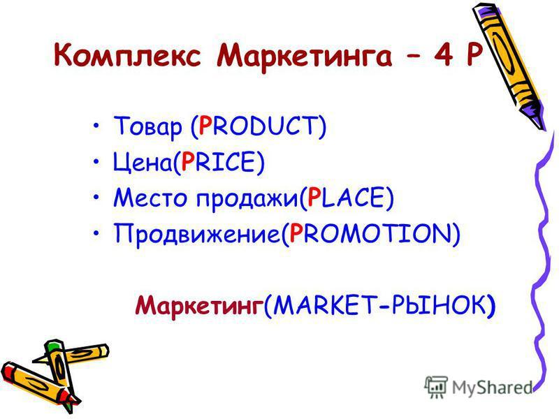 Комплекс Маркетинга – 4 Р Товар (PRODUCT) Цена(PRICE) Место продажи(PLACE) Продвижение(PROMOTION) Маркетинг(MARKET-РЫНОК)