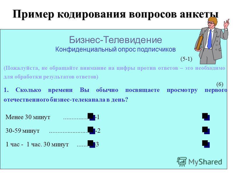Пример кодирования вопросов анкеты Бизнес-Телевидение Конфиденциальный опрос подписчиков (Пожалуйста, не обращайте внимание на цифры против ответов – это необходимо для обработки результатов ответов) 1. Сколько времени Вы обычно посвящаете просмотру