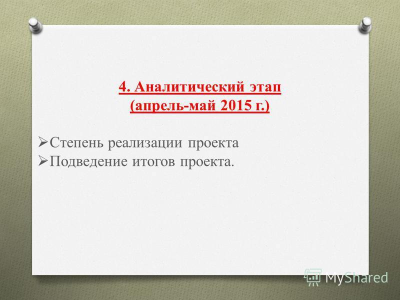4. Аналитический этап (апрель-май 2015 г.) Степень реализации проекта Подведение итогов проекта.
