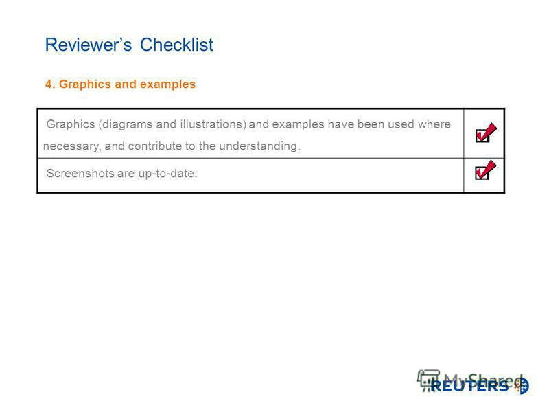 Reviewers Checklist 4. Graphics and examples Graphics (diagrams and illustrations) and examples have been used where necessary, and contribute to the understanding. Screenshots are up-to-date.