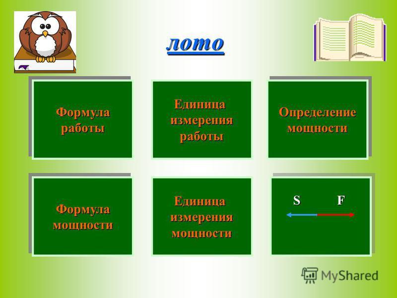 A=F*S Определениемощности Определениемощности Формуламощности Формуламощности лото Единица измерения измерения работы ЕдиницаизмерениямощностиFSФормулаработы Формулаработы Единица работы Формулаработы ФормулаработыОпределениемощности Определениемощно